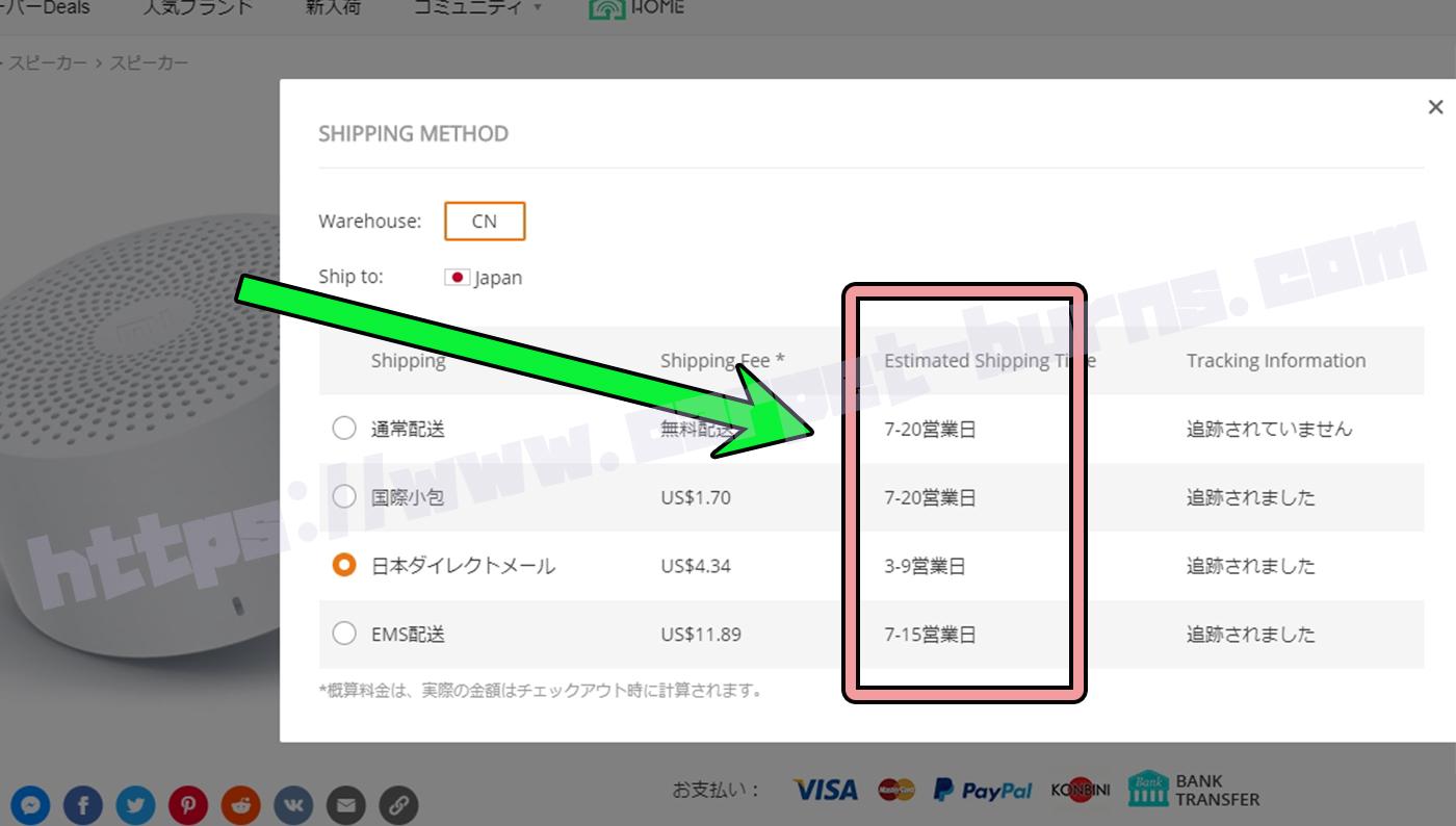 Banggood発送方法別納期2