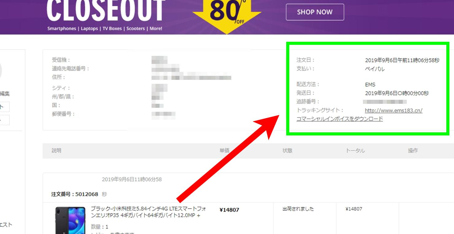 Geekbuying購入画面