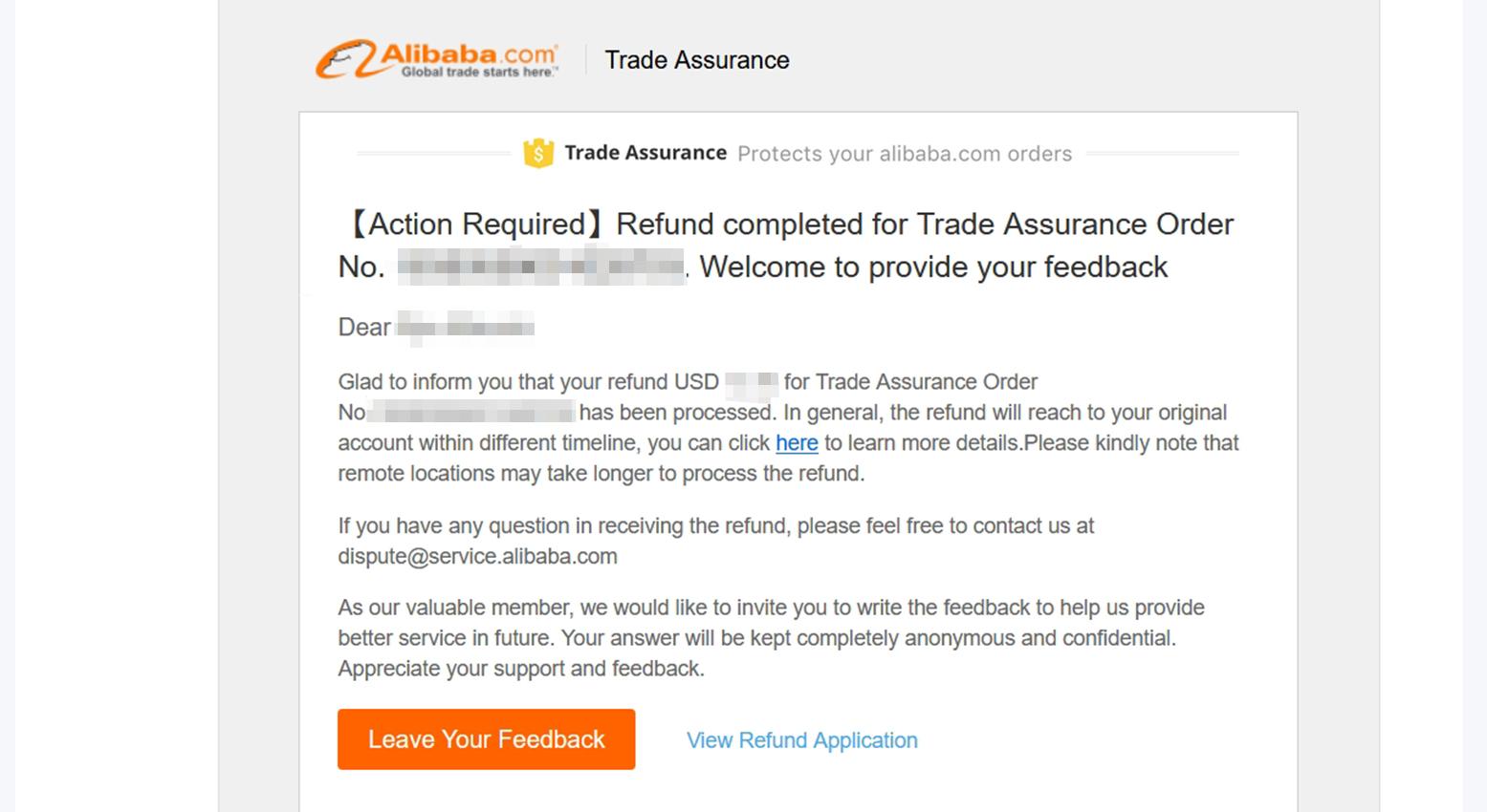 アリババドットコム(alibaba.com)払い戻し完了通知