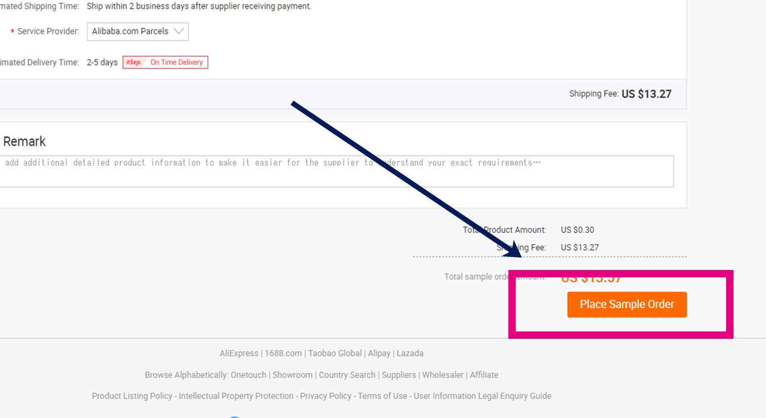 アリババドットコム(alibaba.com)決済画面