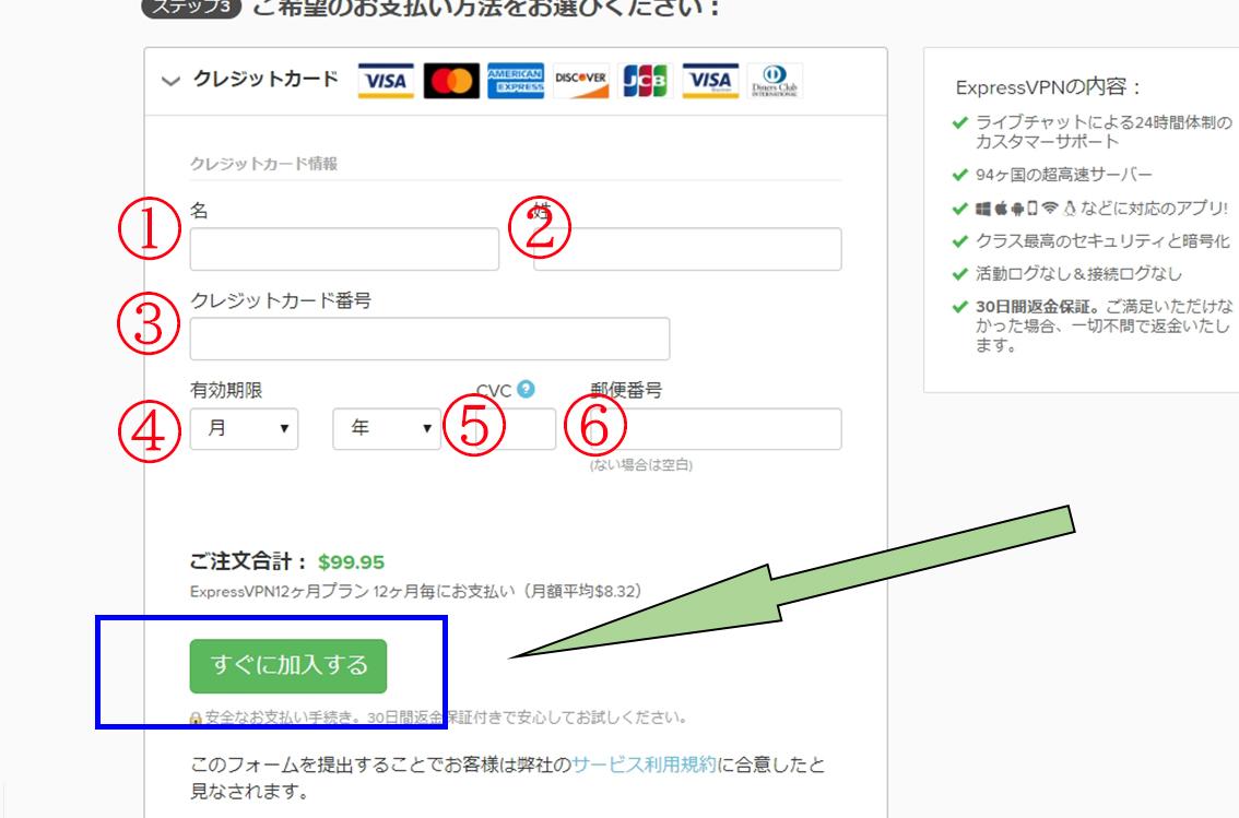 ExpressVPNクレジットカード決済